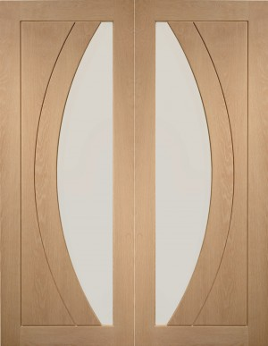XL JOINERY DOORS -  GOPSAL46  Salerno Internal Oak Rebated Door Pair with Clear Glass  GOPSAL46