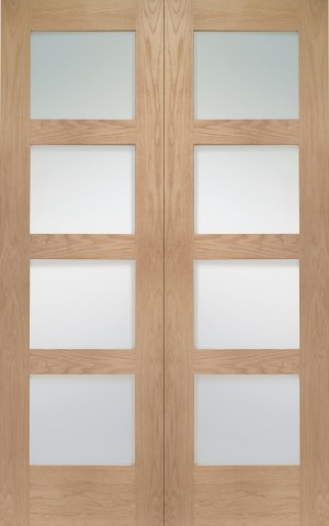 XL JOINERY DOORS -  GOPSHA4L42C  Internal Oak Shaker Rebated Door Pair with Clear Glass  GOPSHA4L42C