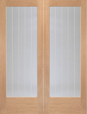 XL JOINERY DOORS -  GOPSUF42 Internal Oak Suffolk Rebated Door Pair with Clear Etched Glass  GOPSUF42