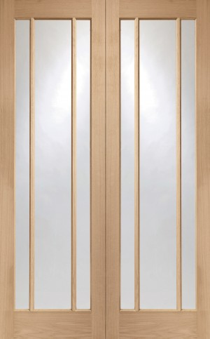 XL JOINERY DOORS -  GOPWOR46  Internal Oak Worcester Rebated Door Pair with Clear Glass  GOPWOR46