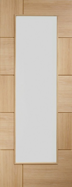 XL JOINERY DOORS -  PFGORAV33 Internal Oak Pre-Finished Ravenna with Clear Glass  PFGORAV33