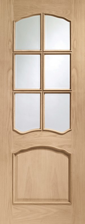 XL JOINERY DOORS -  GORIV27RM  Internal Oak Riviera with Clear Bevelled Glass and Raised Mouldings  GORIV27RM