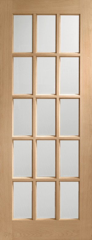 XL JOINERY DOORS -  GOSA27BV  Internal Oak SA77 with Clear Bevelled Glass  GOSA27BV