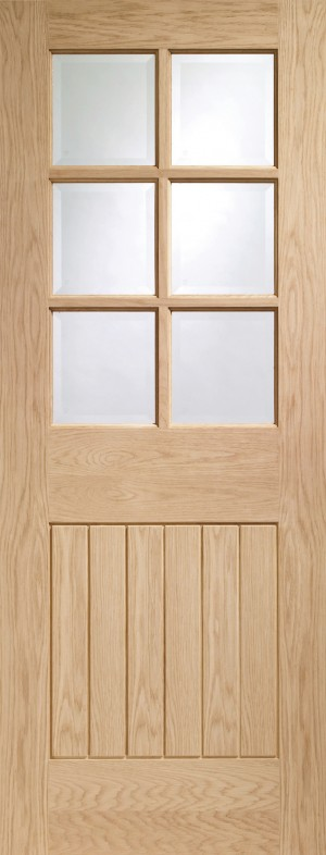 XL JOINERY DOORS -  GOSUF6L27  Internal Oak Suffolk 6 Light with Clear Bevelled Glass   GOSUF6L27