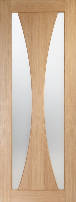 XL JOINERY DOORS -  PFGOVER33C  Internal Oak Pre-Finished Verona with Clear Glass  PFGOVER33C