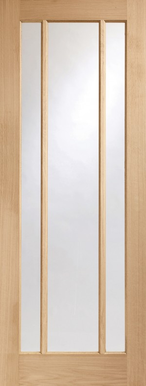XL JOINERY DOORS -  GOWOR826  Internal Oak Worcester 3 Light with Clear Glass  GOWOR826