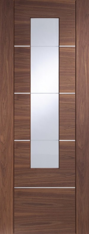 XL JOINERY DOORS -  PFGWALPOR30  Glazed Internal Walnut Pre-finished Portici  PFGWALPOR30