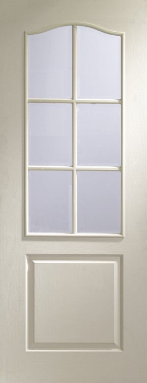 XL JOINERY DOORS -  GWM6L27  Internal White Moulded Classique 6 Light with Clear Bevelled Glass  GWM6L27