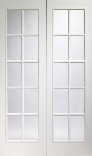 XL JOINERY DOORS -  GWMPFPOR60  Internal Prefinished White Moulded Portobello Rebated Door Pair with Clear Glass  GWMPFPOR60