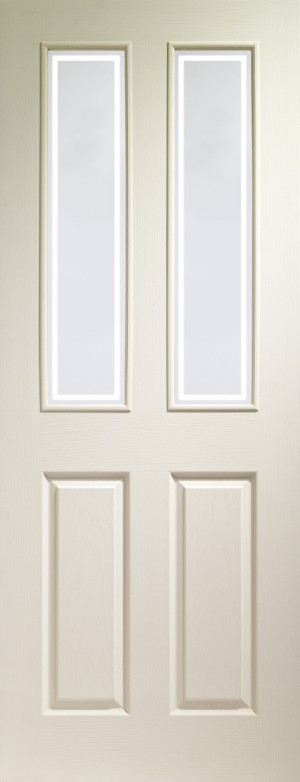 XL JOINERY DOORS -  GWMVICF27  Internal White Moulded Victorian with Forbes Glass  GWMVICF27