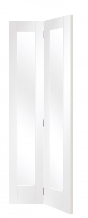 XL JOINERY DOORS -  GWPBFP1027C  Internal White Primed Pattern 10 Bi-Fold with Clear Glass  GWPBFP1027C