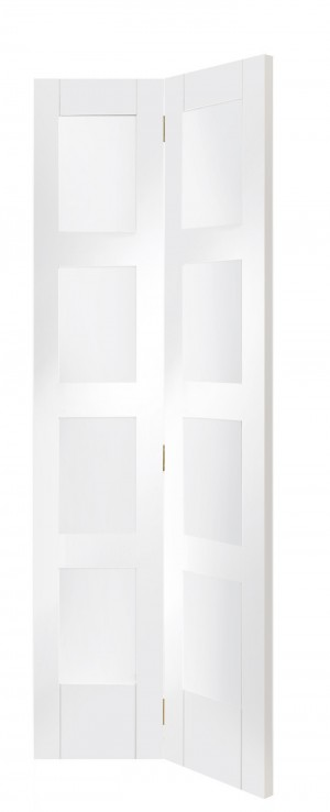 XL JOINERY DOORS -  GWPBFSHA4L30  Internal White Primed Shaker Bi-Fold with Clear Glass  GWPBFSHA4L30