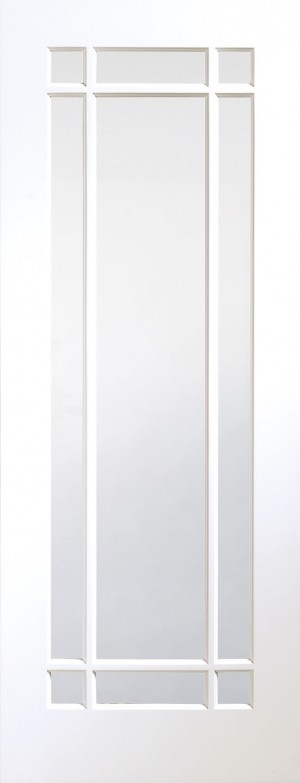 XL JOINERY DOORS -  GWPCHE33 Internal White Primed Cheshire with Clear Bevelled Glass  GWPCHE33