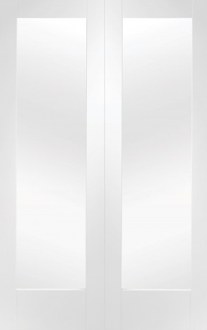 XL JOINERY DOORS -  GWPP1042C  Pattern 10 White Primed Internal Rebated Door Pair with Clear Glass   GWPP1042C