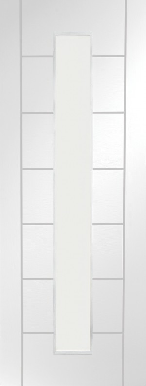 XL JOINERY DOORS -  GWPPAL1L27  Internal White Primed Palermo 1 Light with Clear Glass  GWPPAL1L27