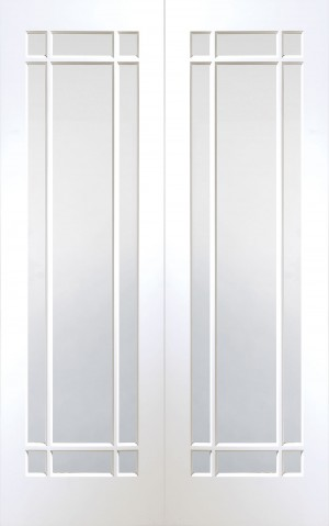 XL JOINERY DOORS -  GWPPCHE46 Internal White Primed Cheshire Rebated Door Pair with Clear Bevelled Glass  GWPPCHE46
