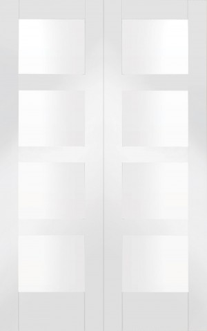 XL JOINERY DOORS -  GWPPSHA4L46C  Internal White Primed Shaker Rebated Door Pair with Clear Glass  GWPPSHA4L46C