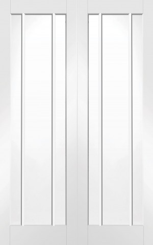 XL JOINERY DOORS -  GWPPWOR46  Internal White Primed Worcester Rebated Door Pair with Clear Glass  GWPPWOR46