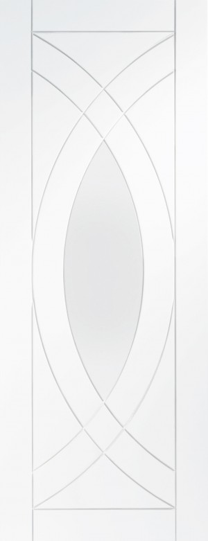 XL JOINERY DOORS -  GWPTRE30  Internal White Primed Treviso with Clear Glass  GWPTRE30