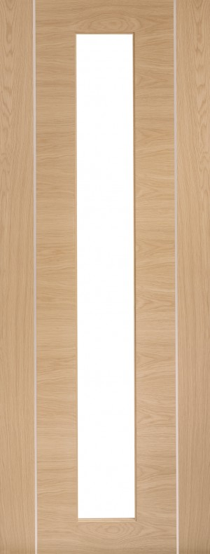 XL JOINERY DOORS -  PFGOFOR33  Internal Oak Pre-Finished Forli (Alum Inlay) Clear Glass  PFGOFOR33