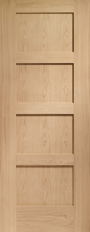 XL JOINERY DOORS -  INTOSHA4P826  Internal Oak Shaker 4 Panel  INTOSHA4P826