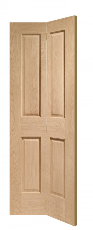 XL JOINERY DOORS -  OBF4P30  Internal Oak Victorian 4 Panel Bi-Fold (30inch)  OBF4P30