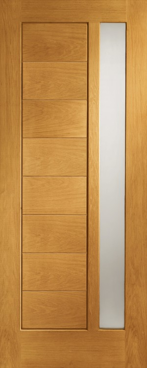 XL JOINERY DOORS -  PFDGOMOD33  Pre-Finished Ext Oak Double Glazed Modena (Obscure)  PFDGOMOD33