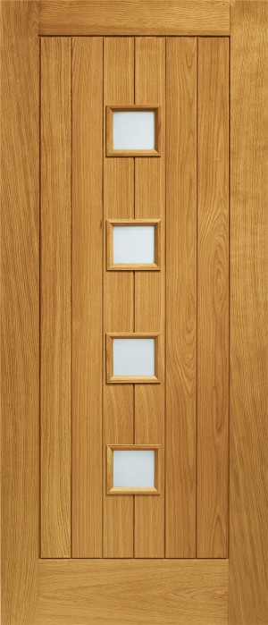 XL JOINERY DOORS -  PFDGOSIE33  Pre-Finished Ext Oak Double Glazed Siena (Obscure)  PFDGOSIE33