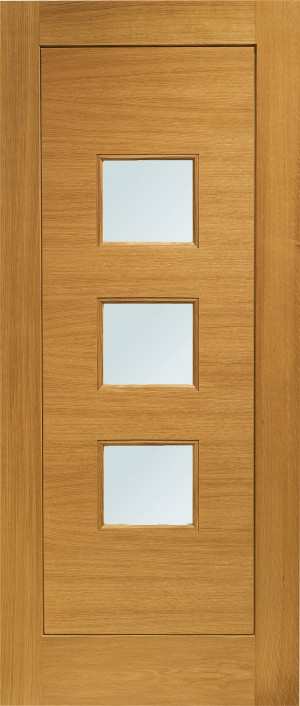 XL JOINERY DOORS -  PFDGOTUR33  Pre-Finished Ext Oak Double Glazed Turin (Obscure)  PFDGOTUR33