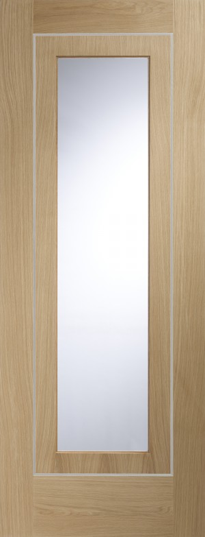 XL JOINERY DOORS -  PFGOVAR33 Internal Oak Pre-Finished Varese (Alum Inlay) Clear Glass  PFGOVAR33