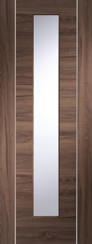 XL JOINERY DOORS -  PFGWALFOR30  Forli Pre-Finished Internal Walnut Door with Clear Glass  PFGWALFOR30
