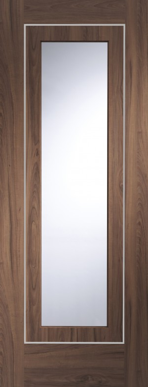 XL JOINERY DOORS -  PFGWALVAR30  Varese Pre-Finished Internal Walnut Door with Clear Glass  PFGWALVAR30