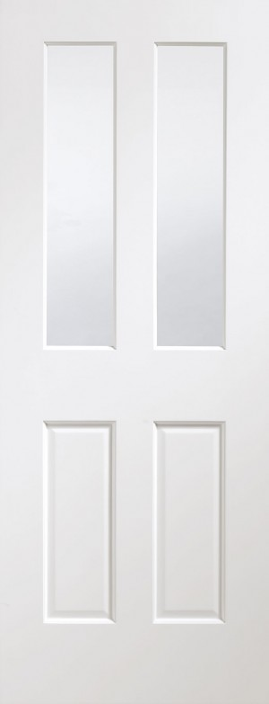 XL JOINERY DOORS -  PFGWFMAL30 Pre-Finished Internal White Malton with Clear Bevelled Glass  PFGWFMAL30