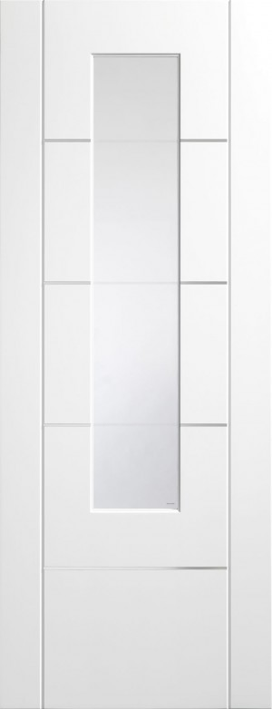 XL JOINERY DOORS -  PFGWFPOR30 Pre-Finished Internal White Portici (Alum Inlay) Clear Etched Glass  PFGWFPOR30