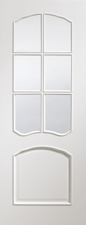XL JOINERY DOORS -  PFGWFRIV30 Pre-Finished Internal White Riviera with Clear Bevelled Glass  PFGWFRIV30