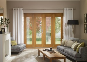 XL JOINERY DOORS -  PFOT6SET-R  Ext Pre-Finished Oak 6ft La Porte French Door Set (Brass)  PFOT6SET-R