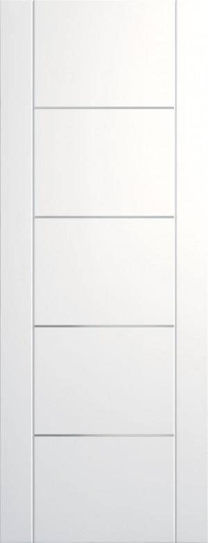 XL JOINERY DOORS -  PFWFPOR33-FD Pre-Finished Internal White Portici (Alum Inlay) Fire Door  PFWFPOR33-FD