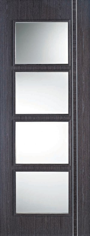 "LPD - Internal Door - Ash Grey Zanzibar Glazed 4L 1981 x 686 (27"")  ASHZANGL27"