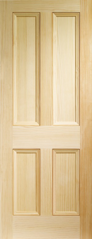 XL JOINERY DOORS -  VGEDW4P32  Internal Vertical Grain Clear Pine Edwardian 4 Panel  VGEDW4P32