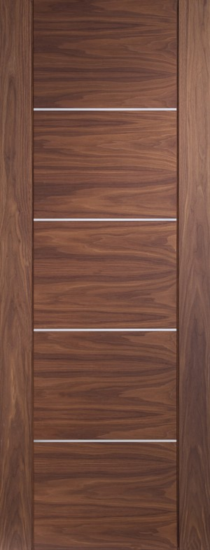 XL JOINERY DOORS -  PFWALPOR27-FD Internal Walnut Pre-finished Portici Fire Door  PFWALPOR27-FD