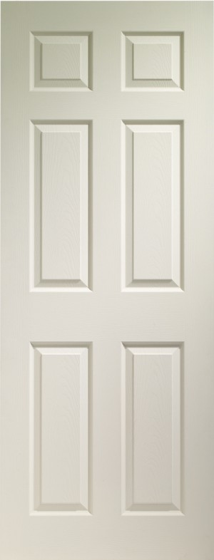 XL JOINERY DOORS -  WM6P30FD  Internal White Moulded Colonist 6 Panel Fire Door   WM6P30FD