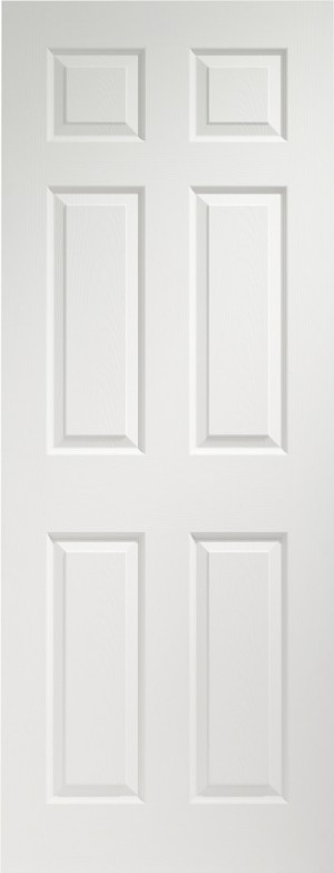 XL JOINERY DOORS -  WMPF6P726  Internal Pre-finished White Moulded Colonist 6 Panel  WMPF6P726