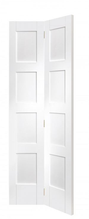 XL JOINERY DOORS -  WPBFSHA4P27  Shaker 4 Panel Bi-Fold Internal White Primed Door   WPBFSHA4P27