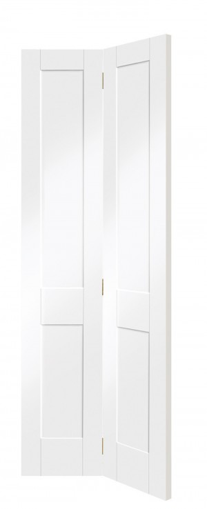 XL JOINERY DOORS -  WPBFVICSHA30  Internal White Primed Victorian Shaker Bi-Fold  WPBFVICSHA30