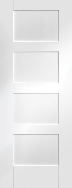 XL JOINERY DOORS -  WPSHA4P24-FD Internal White Primed Shaker 4 Panel Fire Door  WPSHA4P24-FD