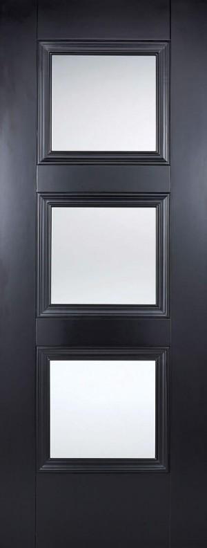 "LPD - Internal Door - Black Amsterdam Glazed 3L 1981 x 686 (27"")  AMSBLAGL27"