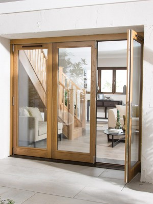 JELDWEN Oak Canberra Folding Sliding Doors
