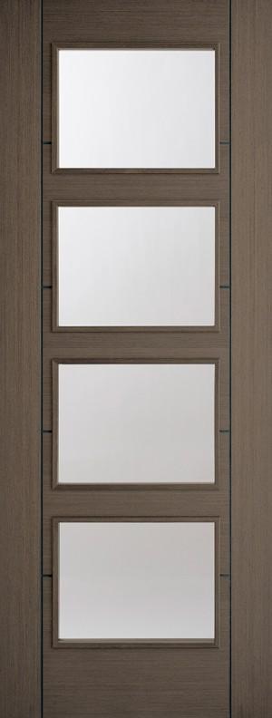 "LPD - Internal Door - Chocolate Grey Vancouver Glazed 4L 1981 x 686 (27"")  CHGVAN4L27"