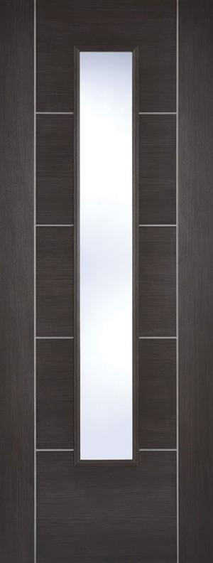 "LPD - Internal Door - Dark Grey Laminated Vancouver Glazed 1981 x 838 (33"")  LAMDGRVANGL33"