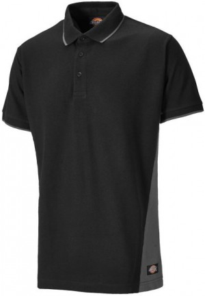 DICKIES SH2004 TWO TONE POLO BLACK GREY  SH2004GYB